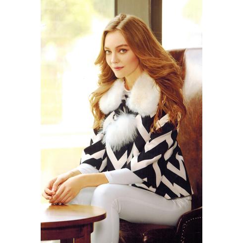 韩美后女装产品-气质毛领毛呢短款外套