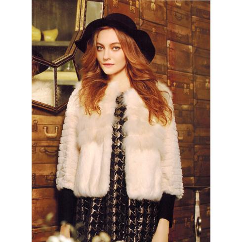 韩美后女装产品-优雅仿毛皮草短款外套