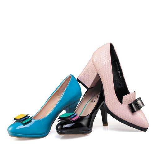 宝丽娜女鞋产品-粗高跟甜美蝴蝶结尖头单鞋