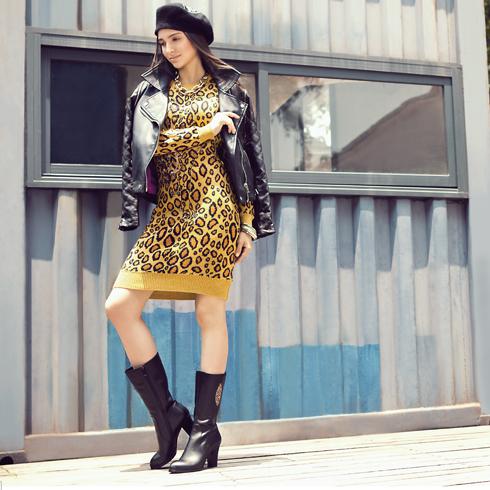 宝丽娜女鞋产品-粗跟侧拉链中筒靴