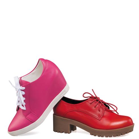 宝丽娜女鞋产品-粗跟厚底系带休闲女鞋