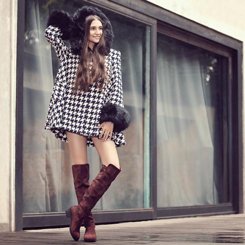 宝丽娜女鞋产品-低粗跟长筒靴