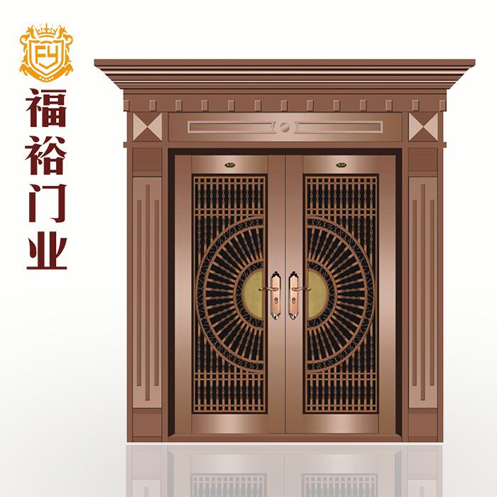 【福裕门业】罗马柱不锈钢双开门别墅门