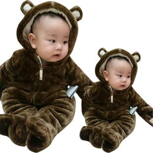 冬季宝宝衣服熊猫动物造型连体衣新生儿加厚夹棉爬服