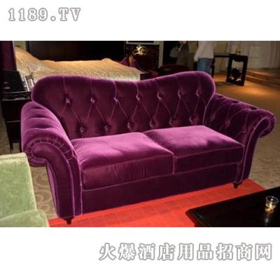 会春新古典欧式沙发(玫红丝绒)