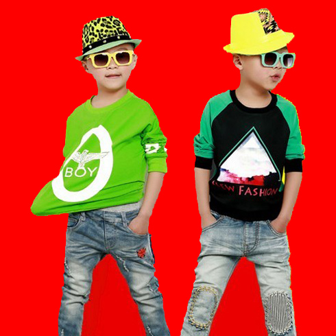 潮童天地童装产品-男童长袖T恤牛仔裤