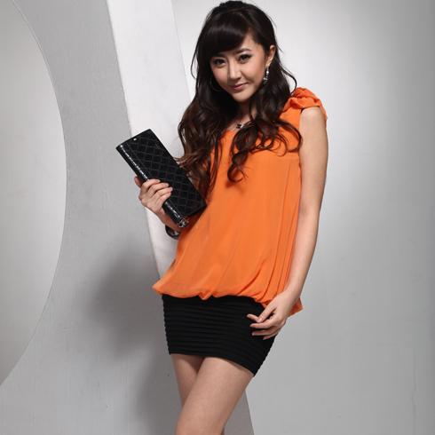 威姬儿斯女装产品-无袖雪纺衫窄脚短裙