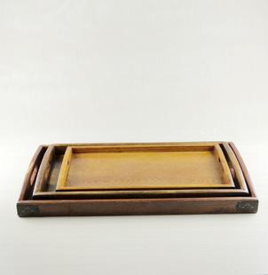 厂家直销欧式手提木纹复古木托盘木制酒店餐饮优质长