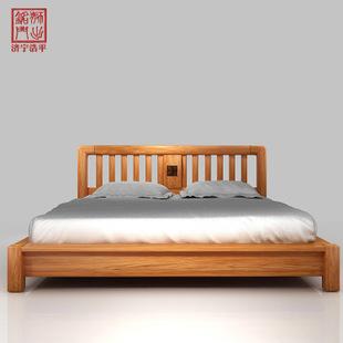 8米白橡木老榆木大床 简约卧室家具 工厂直销