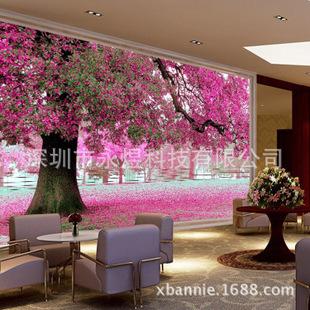 浪漫樱花电视背景墙 自然风景大型壁画订制厂家自然唯美风景系列