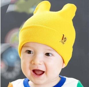 韩国可爱耳朵宝宝帽子 潮婴儿针织帽 秋冬季新款儿童帽子批发