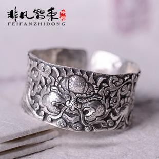 99纯银手镯首饰 民族风泰银复古手工雕刻龙图案手镯纯银饰品