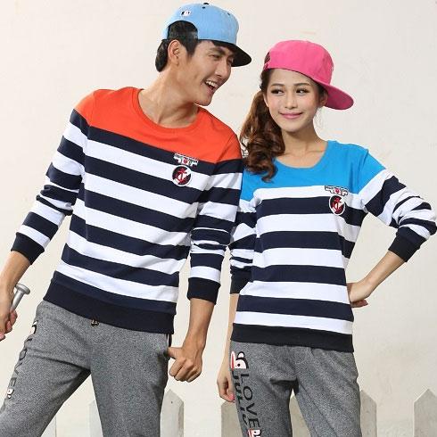 龙子印情侣亲子装产品-龙子印情侣装宽条纹T恤