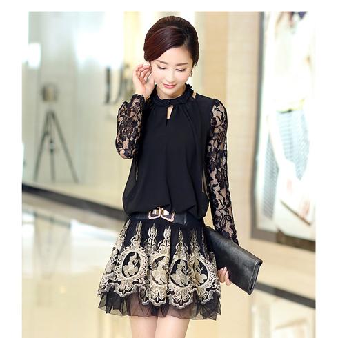 沃库微时尚生活馆产品-复古蕾丝连衣裙