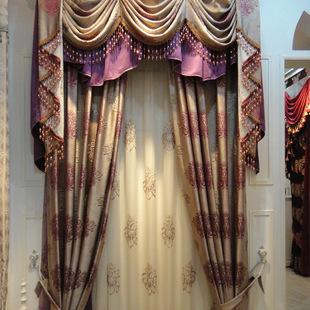 厂家直销 定制 欧式 温馨 渐变紫色 浮雕 提花窗帘布 批发零售
