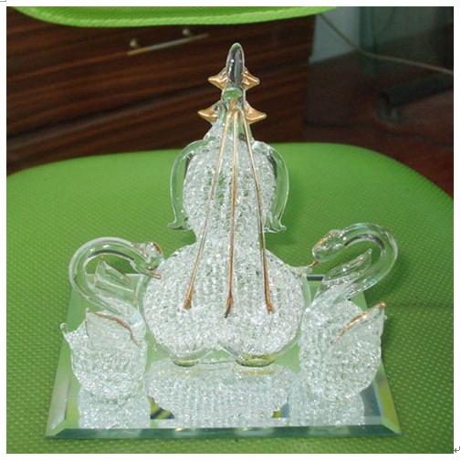 水晶拉丝工艺产品-水晶拉丝白鹤模型摆件