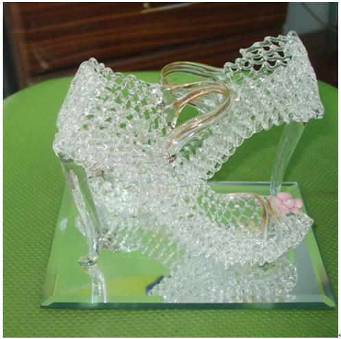 水晶拉丝工艺产品-水晶拉丝工艺品镂空高跟鞋