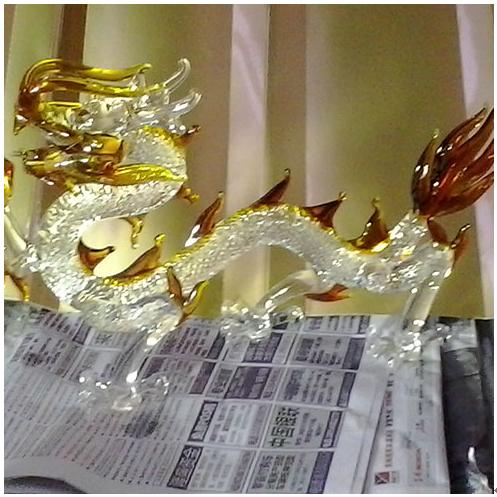 水晶拉丝工艺产品-水晶中国龙摆件