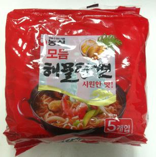 韩国进口食品 农心海鲜汤面 方便面5*125g