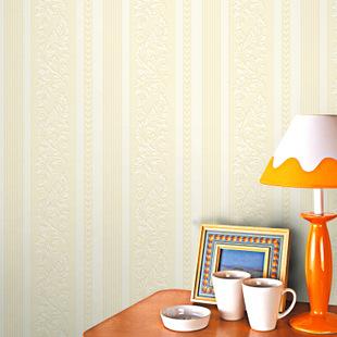 冠益 欧式经典墙纸 无纺布竖条壁纸 客厅卧室走道 厂家直销特价图片