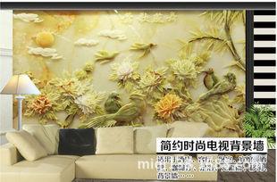 无缝大型壁画墙纸卧室中式3d莺歌燕舞高档玉雕电视背景墙图片