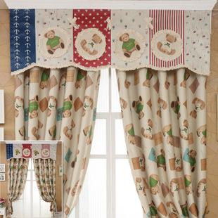 【厂家直销】儿童小孩房可爱小熊遮光窗帘帘头布卧室特价促销