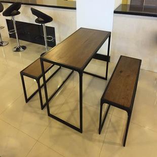 家具实木餐桌椅铁艺复古做旧酒吧黄檀咖啡厅客厅南美餐桌图片