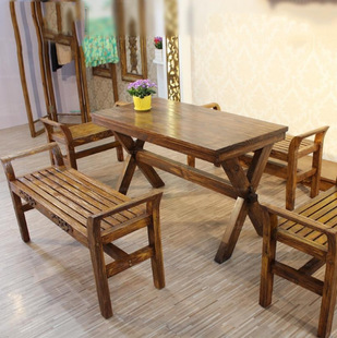 美式复古铁艺实木餐桌 客厅餐厅桌椅组合 咖啡厅长凳桌椅定制