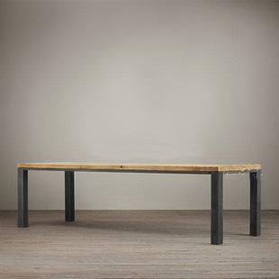 美式loft风格餐桌 实木餐桌 铁艺实木混搭餐桌 实木复古家具批发
