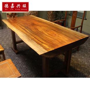 实木餐桌大板 古典家具 茶几 时尚半方边实木 奥坎防腐木厂家定做