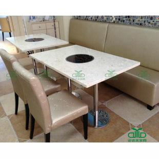 现代风格大理石火锅餐桌 高档电磁炉火锅桌子 四人位餐桌椅