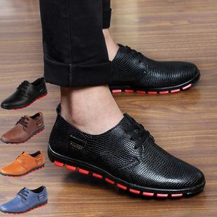 新款真皮男鞋 男士皮鞋 男式单鞋温州男鞋真皮英伦皮鞋男 蛇皮纹