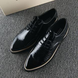 欧美风 外贸女鞋 真皮尖头平底英伦复古系带单鞋微信