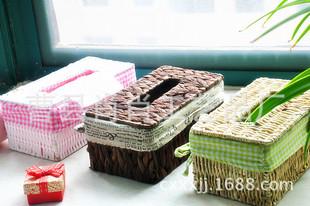 热销批发懒人用品创意家居 草柳编纸巾盒抽纸盒 定制车用纸巾盒