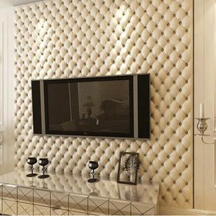 欧式仿皮纹墙纸 3d立体软包壁纸 床头客厅电视背景墙壁纸厂家直销