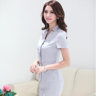 夏季短袖西服套装 简约时尚职业装女套裙气质修身工作