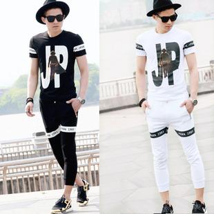 时尚男士短袖t恤套装夏季男套装韩版印花纯棉运动休闲九分裤套装