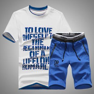 新款夏天运动套装男士夏季短袖情侣套装运动服套装男夏装男运动装-
