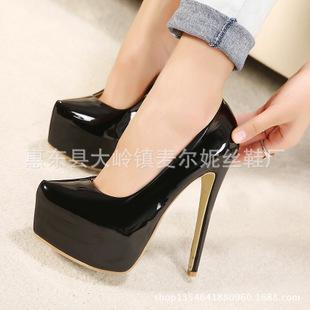 15厘米欧美时尚原单新款超高跟防水台细跟高跟鞋女鞋A15 1