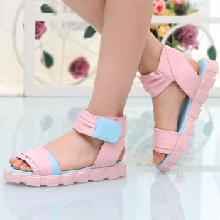 童鞋 夏季凉鞋2015年新款女童韩版拼色鞋 一件代发