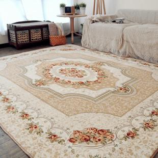 简约现代玫瑰满铺地毯欧式客厅茶几沙发办公大地垫卧室床边毯批发