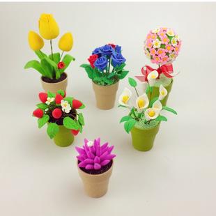 diy益智玩具花草系列 玫瑰多肉花 小花盆 超轻粘土材料包玩具批发