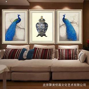北京装饰画批发欧式蓝孔雀挂画卧室壁画客厅有框画