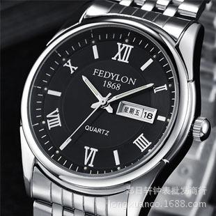 品牌男士钢带手表双日历石英表学生手表防水男表复古手表非机械表-