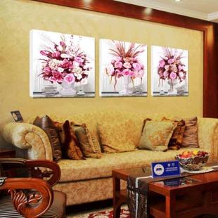 美时美刻欧式客厅背景无框画三联画花瓶装壁画挂画