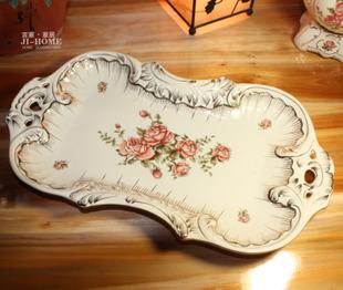 厂家直销 欧式象牙瓷水果盘 餐桌摆设糖果盘 陶瓷家居饰品