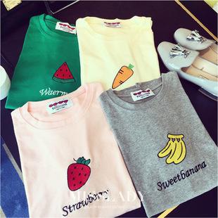 夏季新款可爱西瓜草莓香蕉水果字母印花糖果色宽松短袖t恤女 354