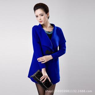 韩版高档修身大翻领针织羊毛开衫外套 女装中长款毛衣