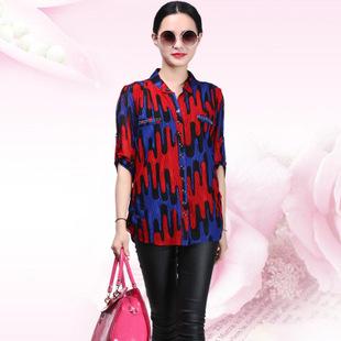 2015夏季新款大码品牌女装v领中袖女式衬衫复古欧式宽松衬衣女