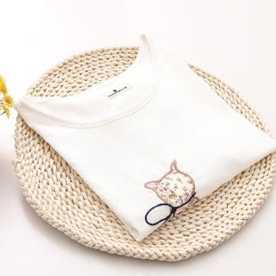 2015新款夏季可爱刺绣猫咪 森女宽松圆领竹节棉麻短袖